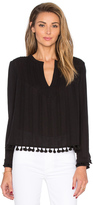 Derek Lam 10 Crosby Tassel Detail Long Sleeve Pintucked Top