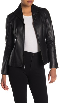 Cole Haan Lambskin Leather Zip Jacket (Petite)