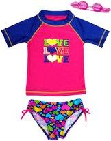 Jump N Splash Girls' Triple Love TwoPiece Short Sleeve Rashguard Set w/ Free Goggles (4-6X) - 8143061