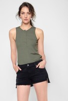 7 For All Mankind Ribbed Henley Tank In Olive