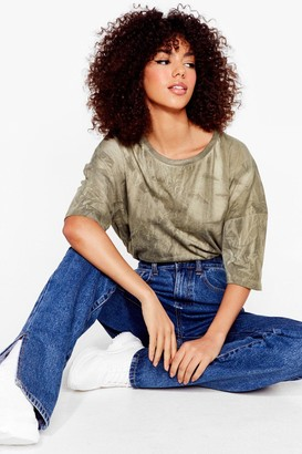 Nasty Gal Womens Tie Dye Your Luck Relaxed Tee - Olive