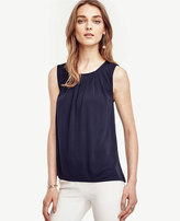 Ann Taylor Petite Back Pleat Mixed Media Top
