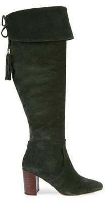Karl Lagerfeld Paris Razo Suede Heeled Tall Boots