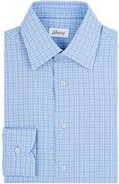 Brioni Men's Grid Check Cotton Poplin Shirt