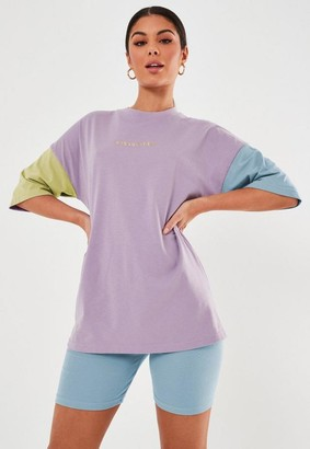 Missguided Petite Lilac Graphic Oversized Colorblock T Shirt