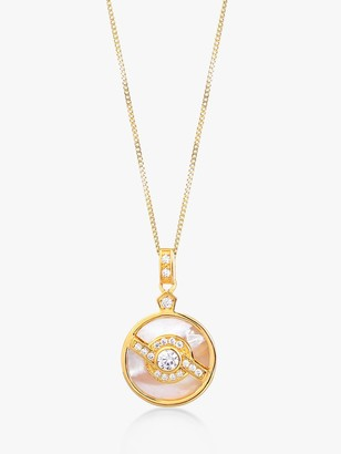 V by Laura Vann Edie Pearl and Cubic Zirconia Circle Pendant Necklace, Gold