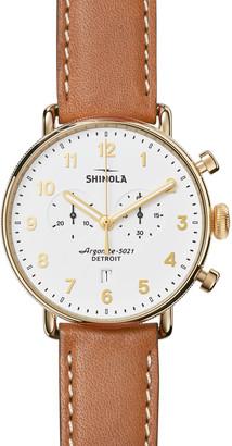 Shinola Men's 43mm Canfield Chronograph Watch, White/Tan