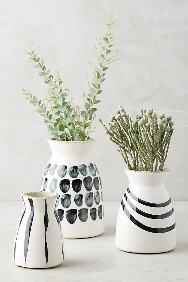 Anthropologie Kupia Handpainted Vase Set By in Black Size ALL