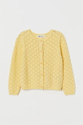 H&M Textured-knit Cardigan - Yellow