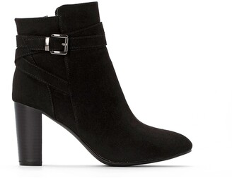 La Redoute Collections Faux Suede Ankle Boots with High Heel and Buckle