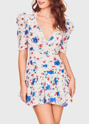 LoveShackFancy Arlo Floral Cotton Short Dress