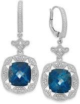 Macy's London Blue Topaz (7 ct. t.w.) and Diamond (1/7 ct. t.w.) Earrings in Sterling Silver