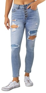 Indigo Rein Juniors' High Rise Ripped Button-Fly Skinny Jeans