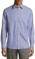 Michael Kors Woven Button-Front Check-Print Shirt, Navy