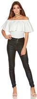 Quiz Black Shiny PU Lace Side Skinny Trousers