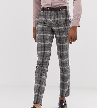 Twisted Tailor tall super skinny smart trousers in grey bold check