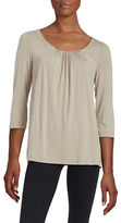 Lord & Taylor Petite Shirred Neckline Blouse