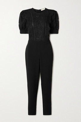 MICHAEL Michael Kors Latice-trimmed Cotton-blend Corded Lace And Crepe Jumpsuit - Black