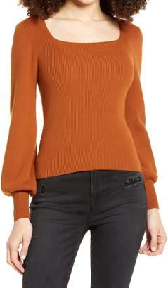 ALL IN FAVOR Rib Square Neck Sweater