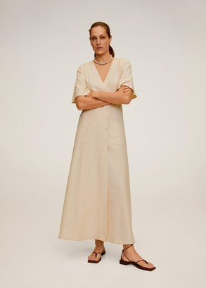 MANGO Buttoned wrap dress beige - 4 - Women