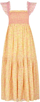 LoveShackFancy Constantine floral-print seersucker midi dress