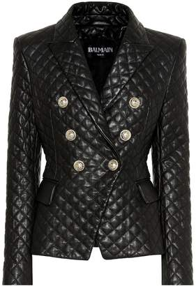 Balmain Quilted leather blazer