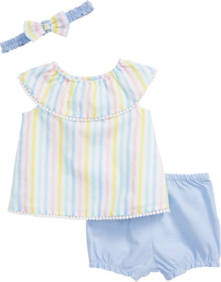 Little Me Stripe Shirt, Chambray Shorts & Headband Set