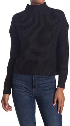 Modern Designer Mock Neck Shaker Pullover Sweater