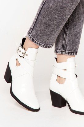 Nasty Gal Womens Do We Cross Your Mind Cut-Out Heeled Boots - White