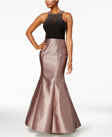 Xscape Evenings Embellished Open-Back Mermaid Gown