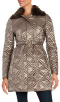 Via Spiga Faux Fur Collar Quilted Coat