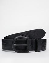 Asos Smart Belt In Black Saffiano Leather - Black