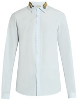 Gucci Tiger-embroidered button-cuff cotton shirt