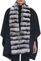 Gorski Wool Cape w/ Fur Collar Trim