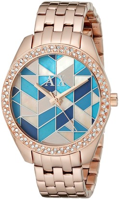Ax Armani Exchange Armani Exchange Women's AX5528 Analog Display Analog Quartz Rose Gold Watch