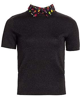 Alice + Olivia Women's Aster Multicolor-Print Collar Short-Sleeve Sweater