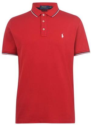 Polo Ralph Lauren Tipped Custom Slim Fit Mesh Polo Shirt