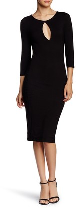 Blvd Keyhole 3/4 Length Sleeve Sheath Midi Dress