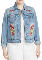 Bagatelle Plus Butterfly Floral Embroidered Patch Denim Jacket