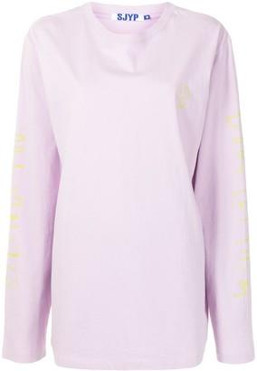 Sjyp Sleeve-Print Cotton T-Shirt