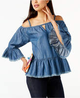 INC International Concepts Frayed Cold-Shoulder Top, Created for Macy's