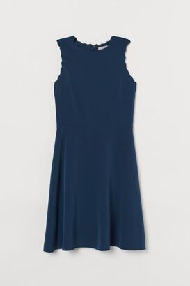 H&M Scallop-edged Dress - Blue