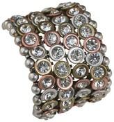 Zirconite Multi-Strand Bracelet with Bezel Crystals - Silver