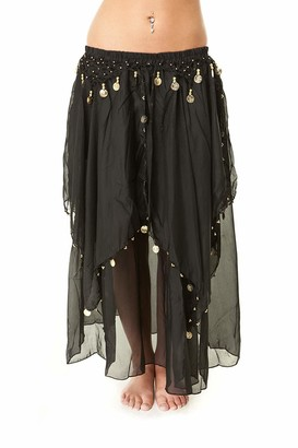 The Turkish Emporium Chiffon Layered Belly Dance Skirt with Attached Hip Coin Belt