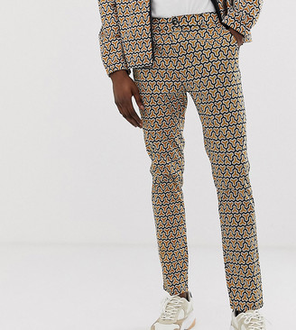 ASOS DESIGN Tall skinny cropped trousers in geo print