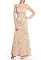 Tadashi Shoji Embroidered Lace Long-Sleeve Gown