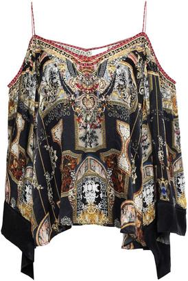 Camilla Cold-shoulder Crystal-embellished Printed Silk Crepe De Chine Top
