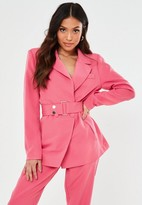 Missguided Petite Pink Co Ord Belted Blazer