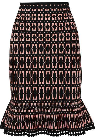 Herve Leger Stretch Jacquard-knit Skirt - Black