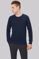 Moss Bros Navy Crew Neck Textured Jumper